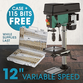 SS 12 Inch VS Benchtop Drill Press